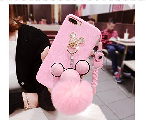 Tianyuanxuan Iphone 7/ 8 Plus Bling Silicone Case for Girls Ring Phone Cover Non-slip Soft Shell for Iphone7/ 8 Plus Protector-Pink