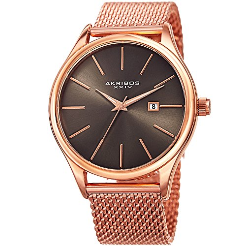 Akribos XXIV Men's Quartz Stainless Steel Casual Watch, Color:Rose Gold-Toned (Model: AK959RGGN) ()