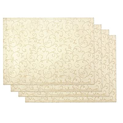 "Lenox Opal Innocence Set of 4 Placemats, Ivory - Crafted of 58% Cotton/ 42% Polyester Set includes four 13""x19"" Placemats Solid with all over vine motif - placemats, kitchen-dining-room-table-linens, kitchen-dining-room - 515u UKcf4L. SS400  -"