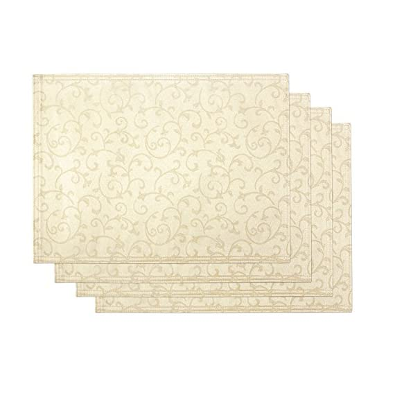"Lenox Opal Innocence Set of 4 Placemats, Ivory - Crafted of 58% Cotton/ 42% Polyester Set includes four 13""x19"" Placemats Solid with all over vine motif - placemats, kitchen-dining-room-table-linens, kitchen-dining-room - 515u UKcf4L. SS570  -"