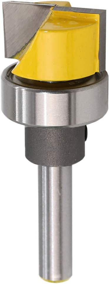Yakamoz 1/4 Inch Shank Flush Trim Hinge Mortising Template Router Bit with Ball Bearing Woodworking Milling Cutter Tool