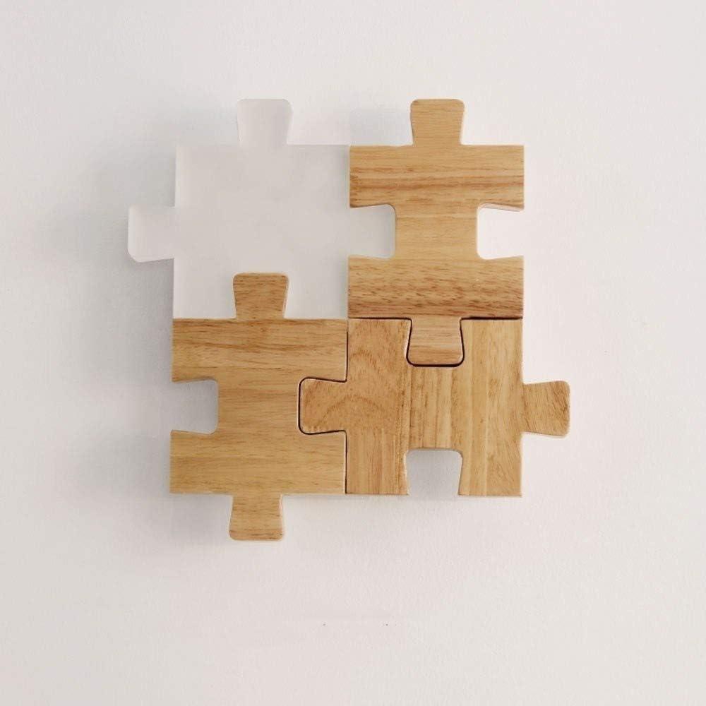Dlicyt Creativo moderno Empalme Puzzle sólido Oficina de Estudio de madera de pared LED del accesorio ligero del dormitorio de noche de madera de sombra lámpara de pared Iluminación Balcón Escalera de: