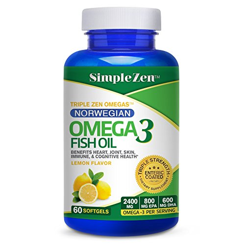 Simple Zen Norwegian Fish Oil Omega 3 Pills - Lemon Flavored Capsules Enteric Coated - 2400 mg Omega-3 - High Dose EPA + DHA Supplements (60 Softgels) - Muscle Farm Fish Oil