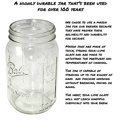 Cold Brew Coffee Maker with Flip Cap Lid by County Line Kitchen - 2 Quart - Make Amazing Cold Brew Coffee and Tea with This Durable Mason Jar and Stainless Steel Filter and Flip Cap Lid by County Line Kitchen (Image #6)