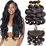 Cheap VIPbeauty Virgin Human Hair Bundles with Frontal Unprocessed Body Wave 3 Bundles Body Wave with 13×4 Lace Frontal Brazilian Body Wave 3 Bundles Ear to Ear with Baby Hair (12 14 16 +10)