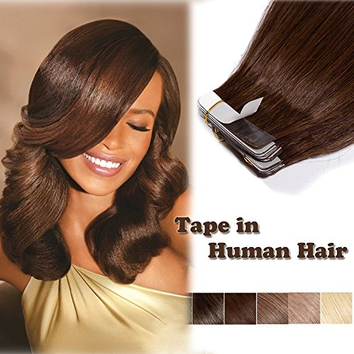 100% Remy Tape in Hair Extension Human Hair Medium Brown 18'' Long Straight Thick Seamless Skin Weft Hair Bonding Double Sided Tape 20Pcs/30g #4 + 10pcs Free Tapes ()