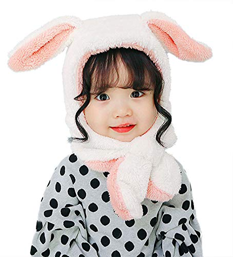 s Girls Lovely Bunny Ears Thick Hood Fleece Hat with Neck Scarf for Autumn Winter, White Rabbit ()