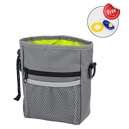 Dog Treat Pouch, PETPAWJOY Walking Dog Treat Bag – Multipurpose Dog Training Bag with Adjustable Belt Mount & Pet Training Clicker