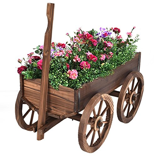 Giantex Wood Wagon Flower Planter Pot Stand W/Wheels Home Garden Outdoor Decor by Giantex