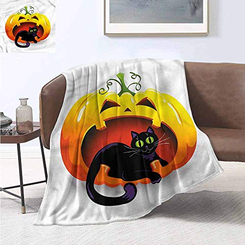 HCCJLCKS Decorative Throwing Blanket Pumpkin Halloween Theme Black Cat Soft Blanket Microfiber W70 xL84 Traveling,Hiking,Camping,Full Queen,TV,Cabin -