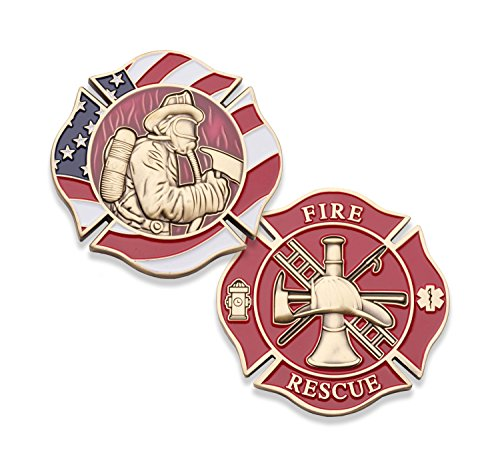 Fireman Maltese Cross Challenge Coin - Firefighter Collectable Coin - Fire Rescue Firemen Coin - Unreal Detail Solid Brass Die Struck Challenge Coin! ()