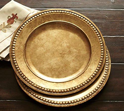 Amazon.com | Set of 4 Nicole Miller Gold Beaded Gilt Round Large 14\  Charger Plates Charger \u0026 Service Plates & Amazon.com | Set of 4 Nicole Miller Gold Beaded Gilt Round Large 14 ...
