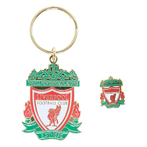 Liverpool FC LFC Colour Crest Badge & Keyring Set Official by Liverpool F.C.