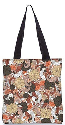 """Snoogg Gemischte Blumenmuster-Einkaufstasche 13,5 X 15 In """"Einkaufstasche Dienstprogramm Trage Von Polyester Canvas"""
