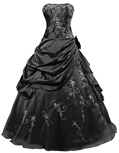 RohmBridal Women's Strapless Formal Prom Dress Evening Gown Black Size 12