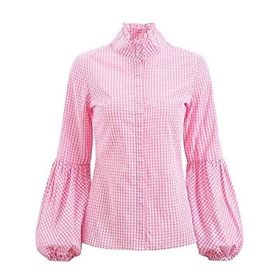 AOMEI Women Plaid Shirts Lantern Sleeves Ruffled Turtle Collar Spring Blouses Tops Blusas
