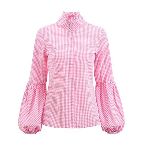 AOMEI Women Plaid Shirts Lantern Sleeves Ruffled Turtle Collar Spring Blouses Tops ()