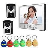 JINPENGPEN 7 inch Intelligent Video doorbell Remote intercom Access Control System HD 1000TVL Infrared Camera,2/1