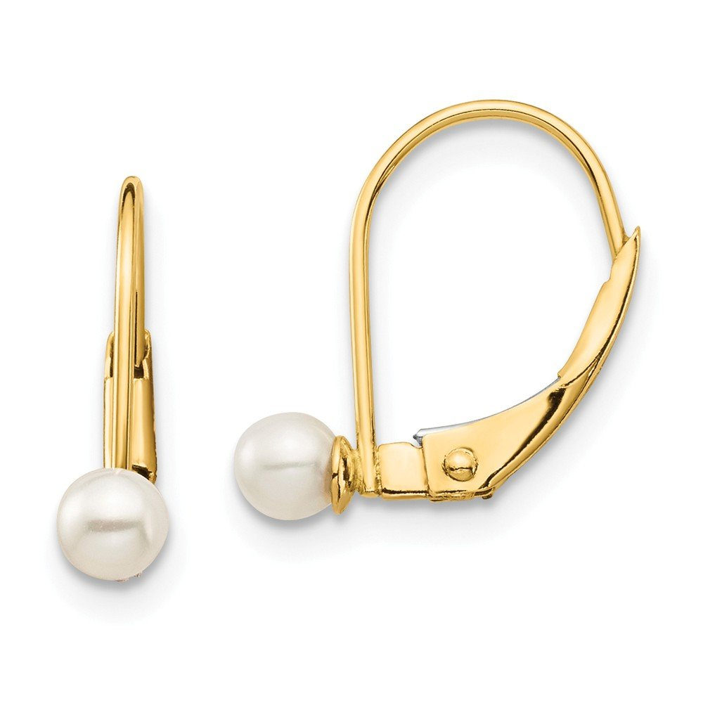 14K Yellow Gold Madi K 3-4mm White Round Freshwater Cultured Pearl Leverback Earrings from Roy Rose Jewelry