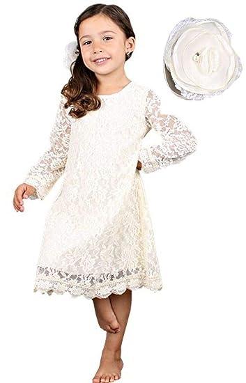 Encaje, Color Blanco Puro Bow Dream Vestido de Bautizo para beb/é
