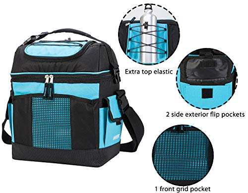 1442026719a2 MIER 2 Compartment Cooler Bag Tote Large Insulated Lunch Bag for Picnic,  Grocery, Kayak, Car, Travel, Blue