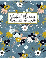 Student Planner: Weekly and Monthly Agenda Organizer Calendar | Academic Year July - June | Blue Modern Floral