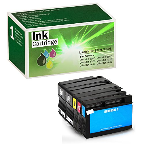 Limeink Compatible Ink Cartridge Replacements 932XL & 933XL High Yield (2 Black / 1 Cyan / 1 Yellow / 1 Magenta, 5 Pack)
