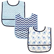 Luvable Friends 3 Piece Waterproof Bibs with Crumb Catcher, Blue Elephant