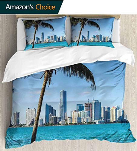 Coastal 3 PCS King Size Comforter Set,Miami Downtown with Biscayne Bay Buildings and Palm Tree Panoramic Art luxury Decor Bedding Set 1 Duvet Cover 2 Pillow 80