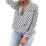 Eliacher Women's Casual Long Sleeve Shirts Striped Chiffon Blouse (XXL)
