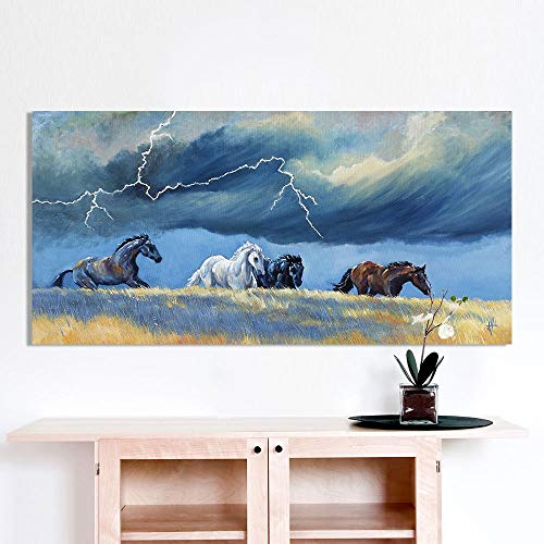 (LIEFENGDAO Decorative Paintings Wall Art Pictures for Living Room Home Decor Animal Painting Four Running Horse Thunder Grass Canvas Picture No Frame,24X48)