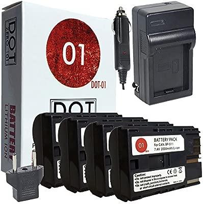DOT-01 4 x Marca 2000 mAh de Repuesto Canon BP-511 Baterías y ...