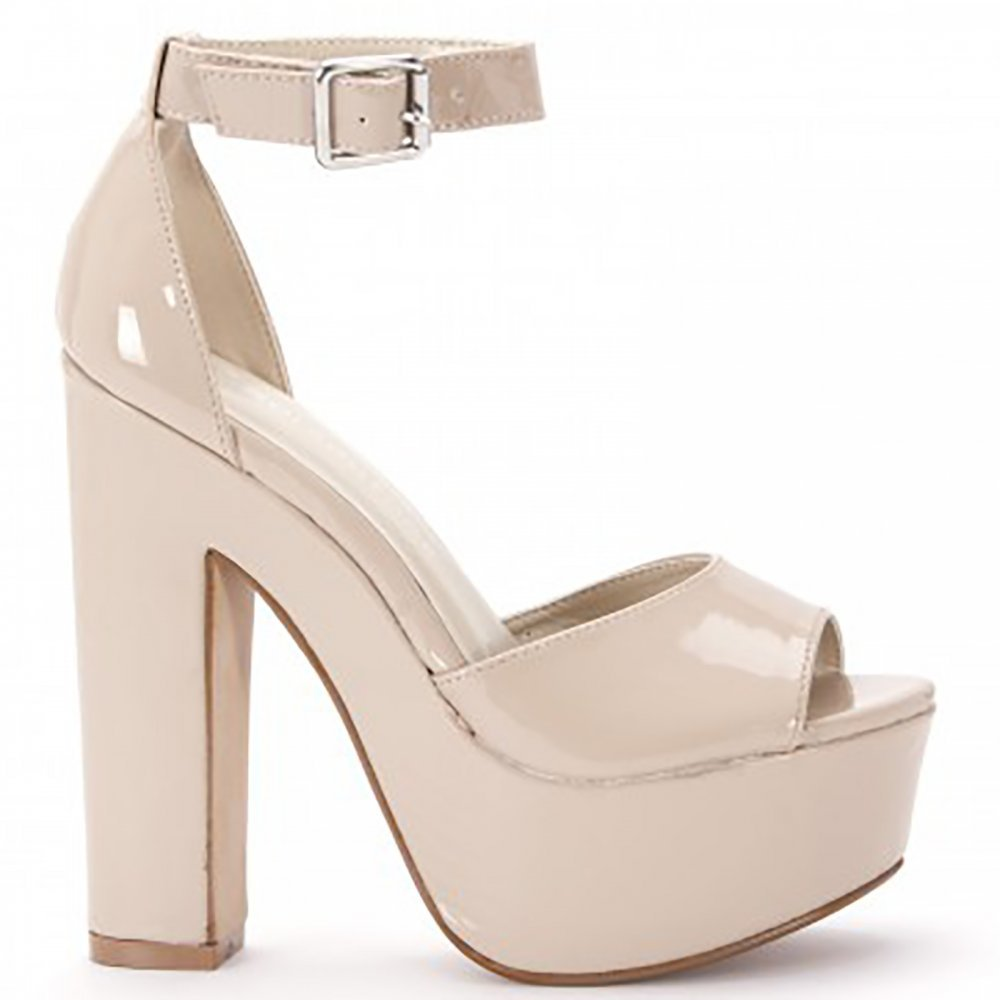 f310bc67470 Ladies Womens Nude Patent Platforms Barely There Ankle Strap High ...