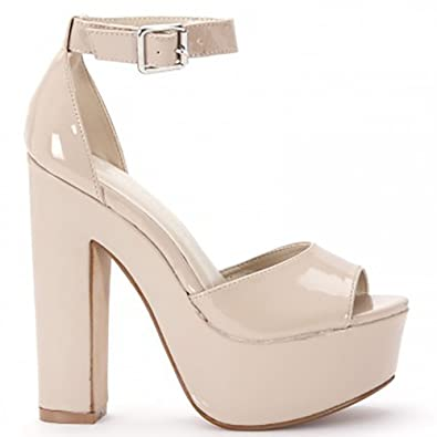 25df97dbdc6 Ladies Womens Nude Patent Platforms Barely There Ankle Strap High Heels  Strappy Sandals Shoes 3-