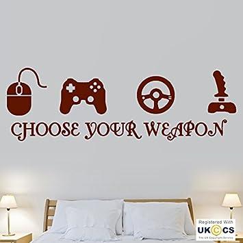 Waffe Wahl Gaming Computer Konsole Coole Wand Kunst Aufkleber Vinyl