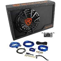 Rockville RWS12CA Slim 1200 Watt 12 Powered Car Subwoofer Enclosure + Wire Kit