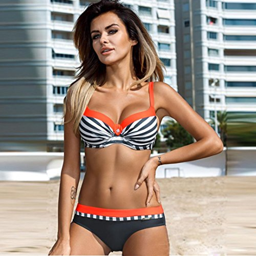 vovotrade Dos tonos Raya de cebra mujeres bikini Set Push-up acolchado Bra traje de baño traje de baño Triángulo Naranja