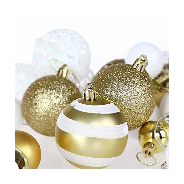 BAKAJI Confezione 100 Palline di Natale Diametro 3/4/6 cm Addobbi e Decorazioni per Albero di Natale (Bianco Oro) 4 spesavip
