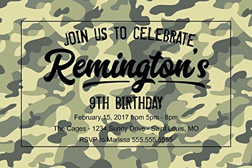 Custom Birthday Party Invitation - Camo - Preteen - (Custom Birthday Invitation)