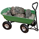 Yardeen LOCLANIKAI-XA-Green Garden Dump Cart Wagon Carrier with Steel Frame Pneumatic 650 lb Capacity Green