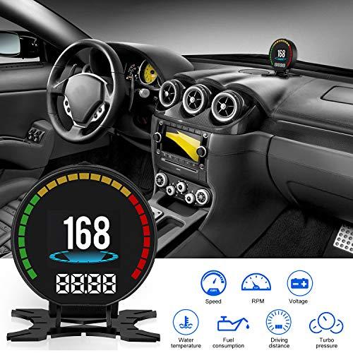 CACAGOO Car HUD Head Up Display 2.8 inch OBD Ⅱ Smart Digital Meter - Universal Multi-Function Modification P15 HUD Digital Guage - Display 48 Data from Car ECU - for All 12V Vehicles VW BMW Audi.