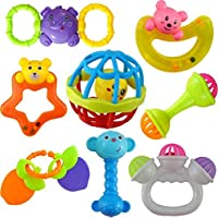 ZZ ZONEX 8PC Colourful Plastic Non Toxic Teether and Rattle for New Borns and Infants