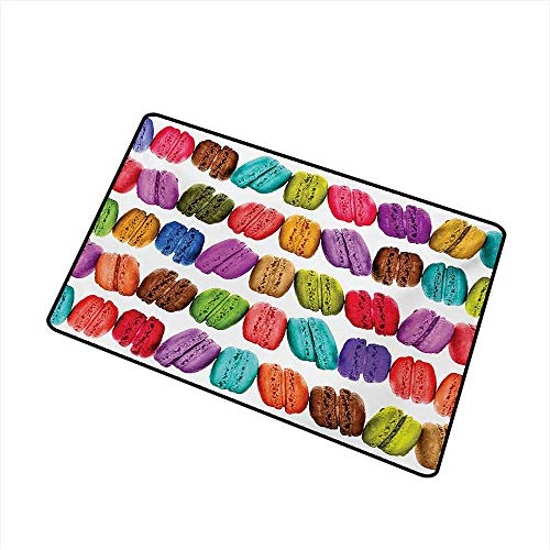 BeckyWCarr Colorful Universal Door mat French Macarons in a Row Coffee Shop Cookies Flavours Pastry Bakery Food Design Door mat Floor Decoration W15.7 x L23.6 Inch,Multicolor