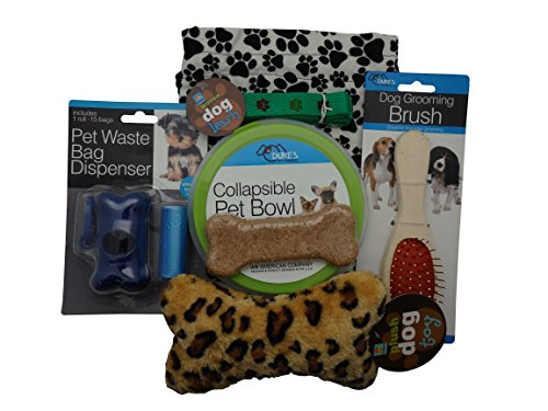 New Puppy Dog Gift Set with Paw Print Fleece Gift Bag