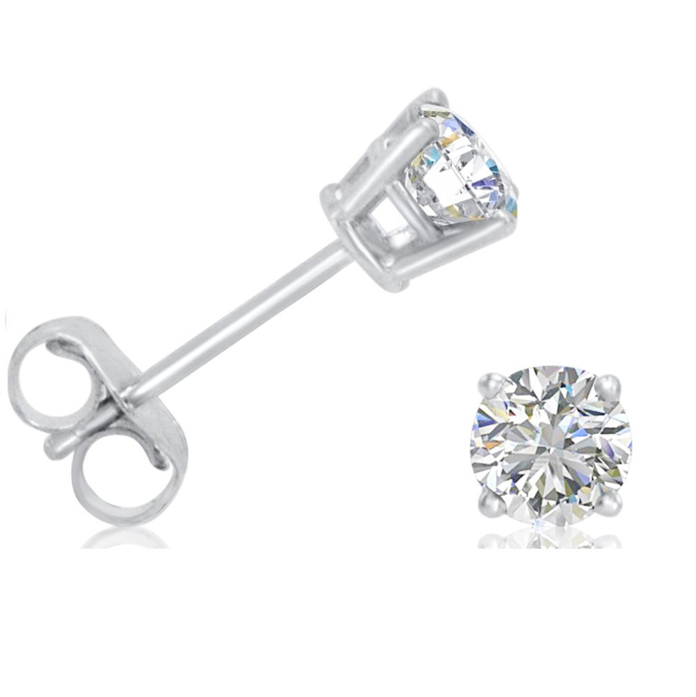AGS Certified 1/2ct TW. Diamond Solitaire Stud Earrings set in 14K White Gold by Amanda Rose Collection