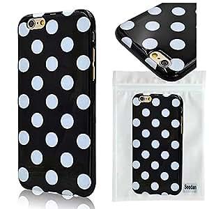 Seedan Rubberized Soft White Polka Dots Case for iPhone 6 4.7 Inch - Black Gel TPU Flexible Back Cover Skin