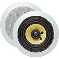 Cmple - 5.25-Inch Pair of 2-Way In-Wall/In-Ceiling Kevlar Speakers - Round