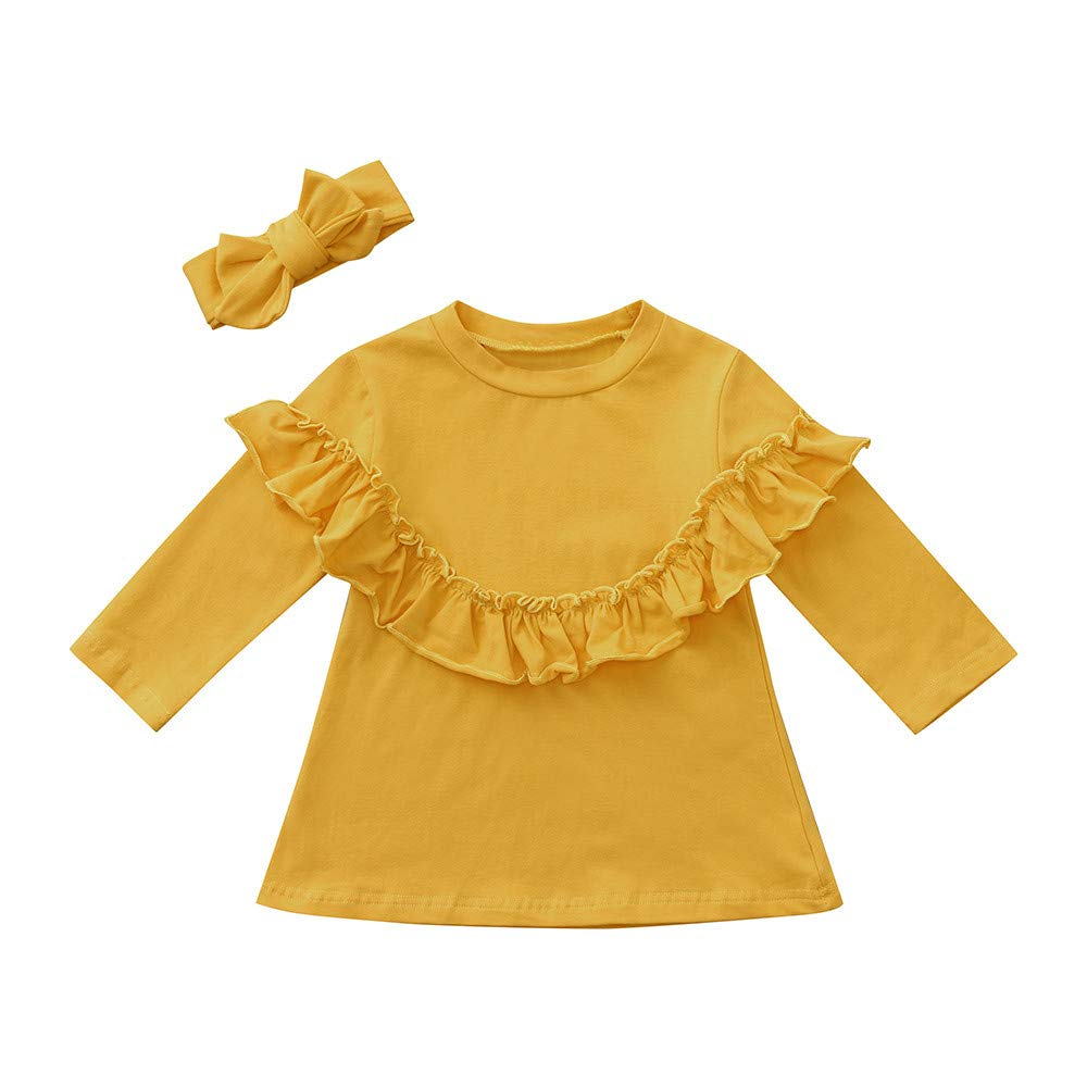 Clode for 0-5 Years Old Cute Toddler Baby Girls Long Sleeves Ruffles Tshirt Top+Headband Winter Outfit Kid Clothing Set Clode-TS-00387