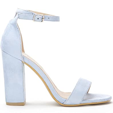 7982819621 Shoe Closet Ladies Baby Blue Barely There Strappy Sandals Peep Toes Block High  Heels UK3/