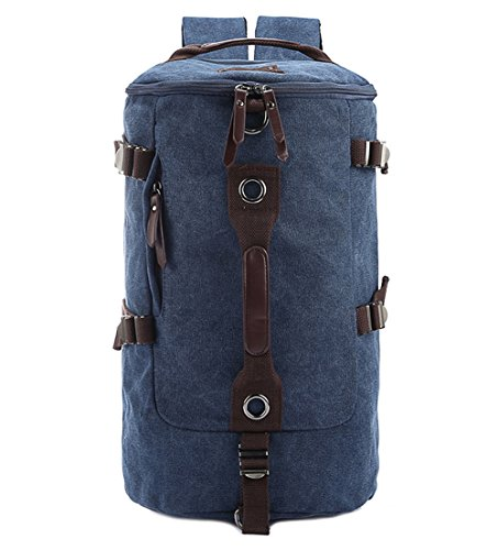 Berchirly Men Canvas Backpack Rucksack Bucket Gym Satchel Hiking Bag for Travelling and Outdoor Activities